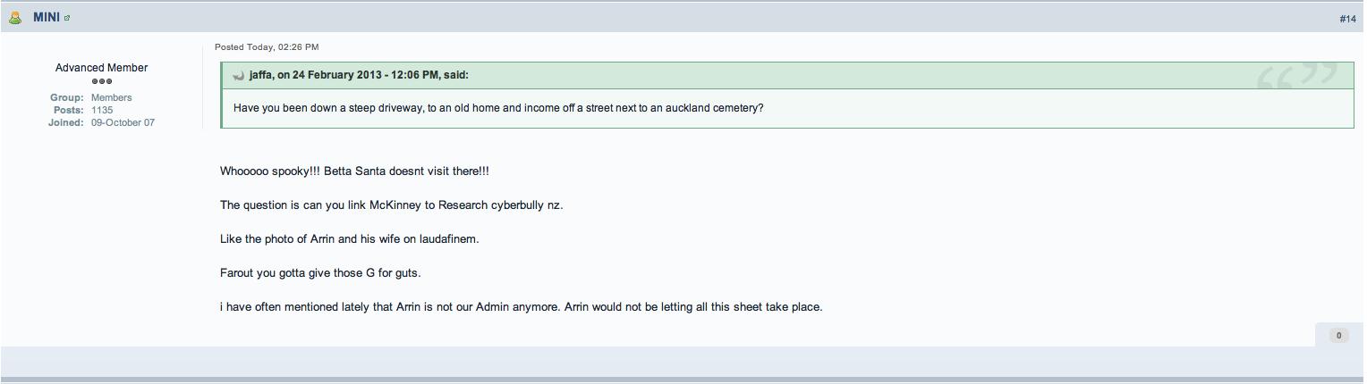 "ACC Forum member Claire Avon Rae Hollis stuffs up yet again, naming ""Arrin"" Wislang"