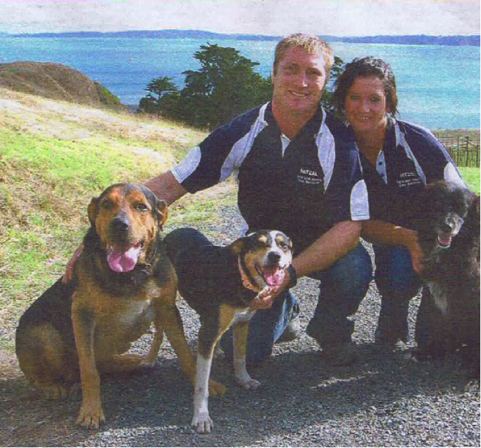 "Matthew Crann with his best friends [from left Pluto, Pearl, and Bess].  The other dog with the matted hair is criminal Elizabeth ""cumsack"" Currie – Matthew Crann's abuser and false accuser - who had just been unfaithful to Matthew Crann [when this picture was published in an agricultural magazine] with Matthew Cranns best mate Clevedon businesscunt Shane McInnes"