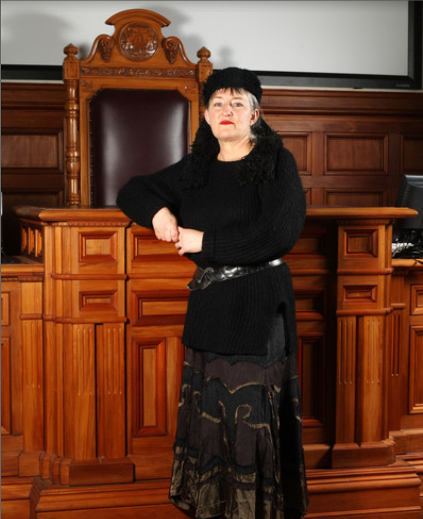 """Right campaigner Penny Bright photographed next to Lens masterbatorium has vowed to have the Town Hall sanitised and refurbished - starting with the """"big chair"""""""