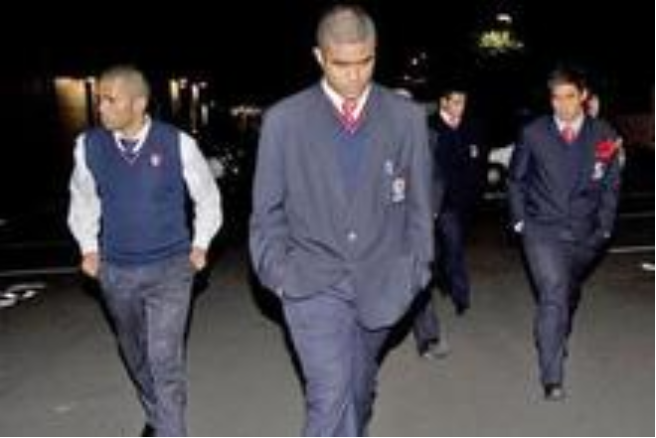 Violent rugby brawling members of the Kelston Boys 1st XV leave Eden Park after the rugby union hearing.