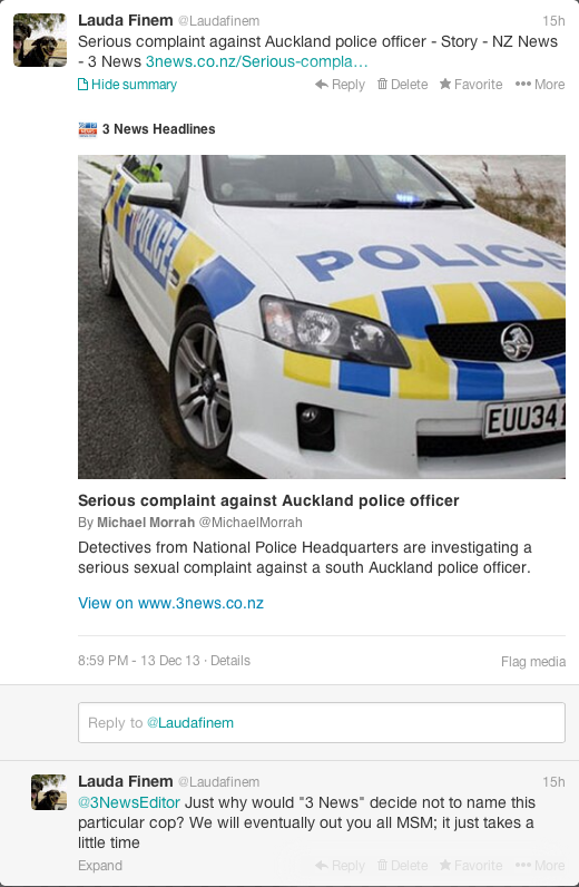 Shame on TV3 for pissing in the pockets of New Zealand's bent Police force