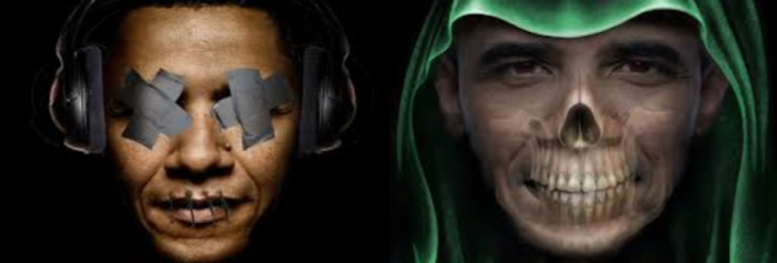 "The ""dark One"" hears no evil, sees no evil, speaks no evil – but millions have died as Obama slept"
