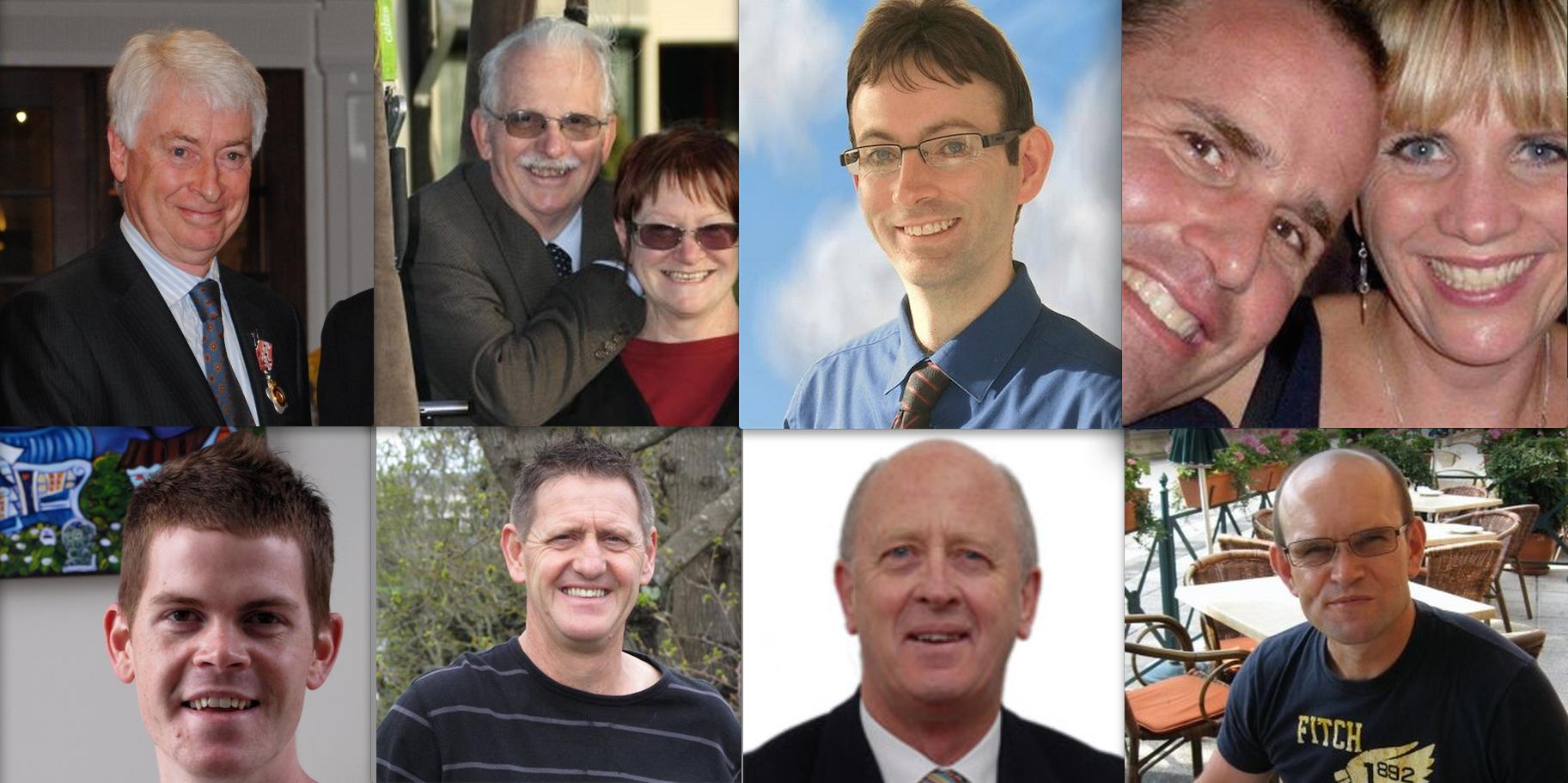 Left top tp right: Judge Barber, Dale Vanderhoof/Jean Palmer-Holmes, Steven Price, Aaron Van Delden, Michael Van Delden, Ngarai Vanderhoof,  Gerald Gallacher, Garry Denley