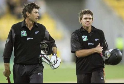 Stephen Fleming and Lou Vincent walk off triumphant, after setting a New Zealand record for the first wicket and inflicting Australia's first 10-wicket defeat. At least Vincent has the balls to admit to his part in what has brought him nothing but misery.