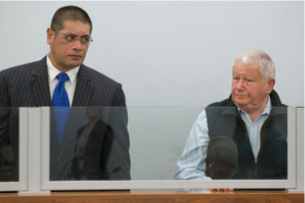 E-Gas executives Sydney Hunt (L), and Ronald Rosenberg, during their sentencing in Wellington's High Court