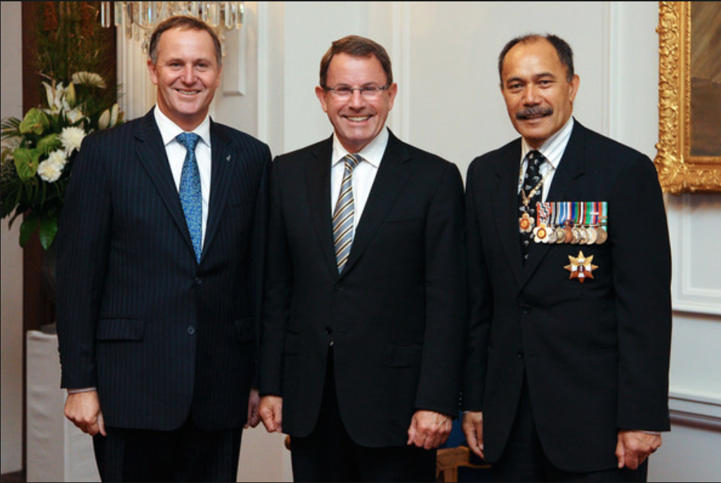 Two corrupt slimy bastards and one bent uncle tom, Left to right, Kiwi PM John Key, convicted criminal John Banks and ex GCSB Director turned NZ GG Ubango Umpa Umpa