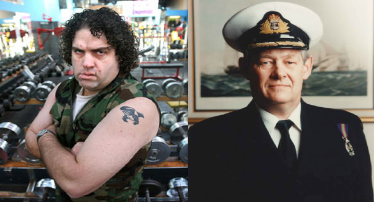 "[Right] Commander Blackie VRD, RNZNVR – now a below average District Court Judge. [Left] Self styled ""Internet warrior"", but in reality simian peddler of hypocrisy, and self-delusion - Cameron Slater. You can see how these two woudn't ""connect""."