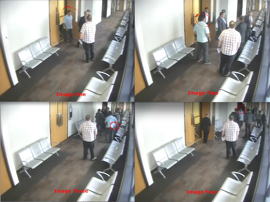 CCTV security camera footage capturing a vicious premeditated assault by ex-cop turned so-call private investigator Danial Andrew Thompson at Auckland's District Court. Thompson is seen (image three) reaching into his back pocket for a tazer after the assault.