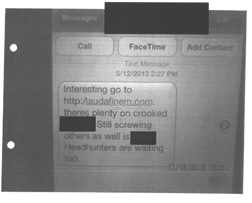 The alleged threat, as attached to Blomfields false police complaint