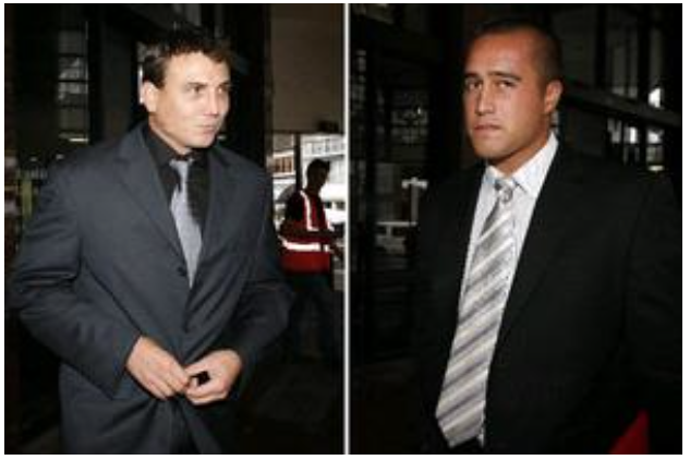 Auckland District Court Judge Heather Simpson rejected claims that former Auckland City constables Patrick Garty, 32, and Wiremu Bowers Rakatau, 21, acted in self-defence when they kicked and punched a group of students in March 2008