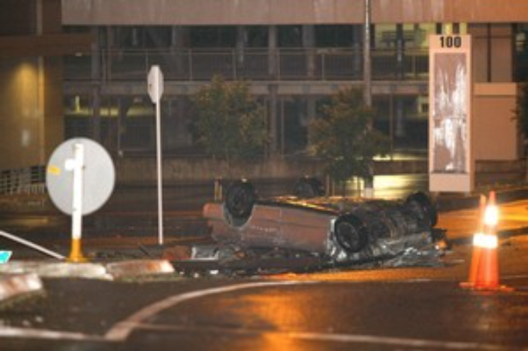 Two people died when this vehicle flipped after fleeing police in Onehunga in August 2010