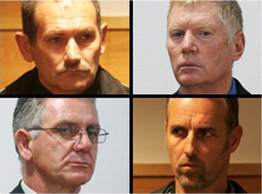 New Zealand Police thugs, clockwise: Sergeant Keith Parsons, Senior Constable Bruce Laing, Constable John Mills and Sergeant Erle Busby were all found not guilty of assault.