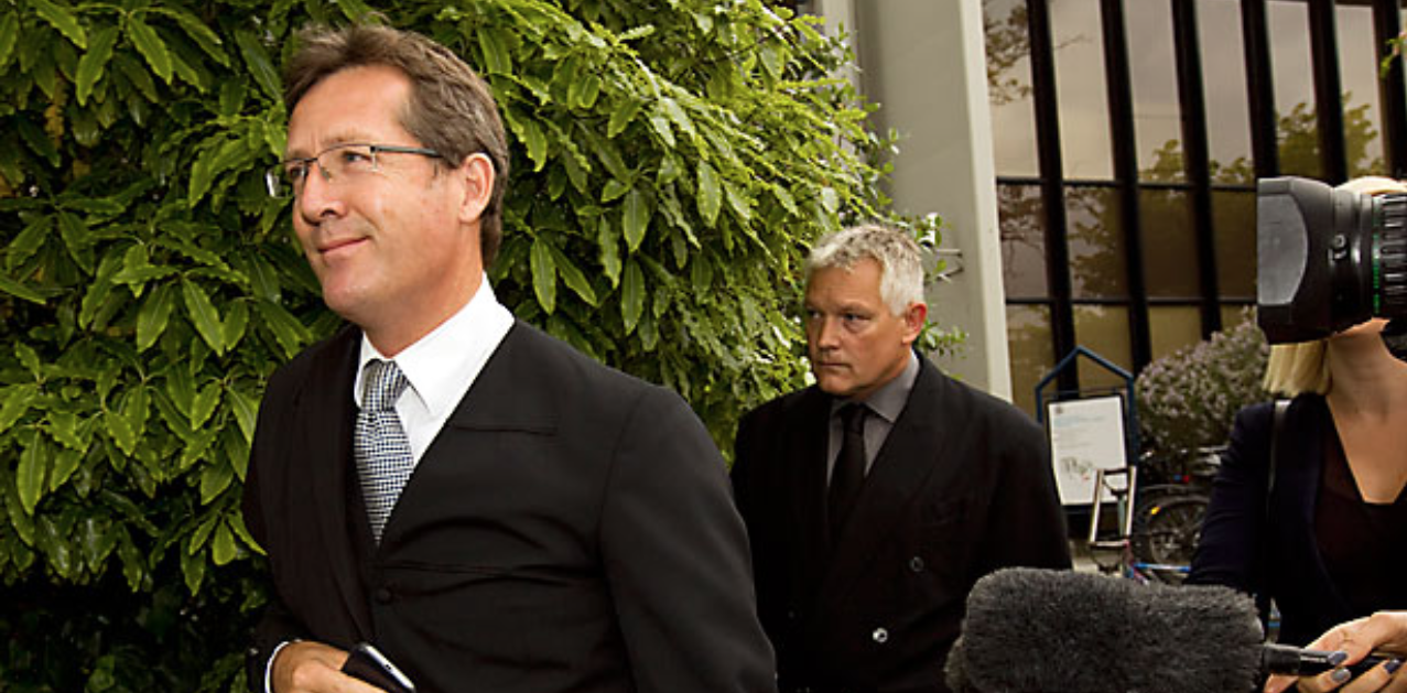 CORRUPT COP: Gordon Stanley Meyer, 45, follows his lawyer Jonathan Eaton outside the High Court in Christchurch, where he admitted charges of corruption and bribery.