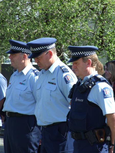 Centre: Central Otago Senior Constable John Clarke another sex offender with name suppression seen at a police memorial day in Alexandra.
