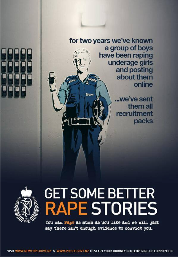 A Poster produced by blogger Martin Bradbury during the  Roast Busters scandal, New Zealand police threatened Bradbury with incarceration as a result., Apparently good satire too is a crime in the land of the long white shroud.