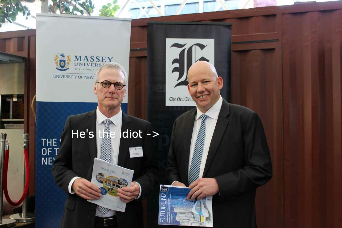A wannabe academics photo opportunity - New Zealand Herald editor Shayne Curry (the bald one), cocksmoker extraordinaire!