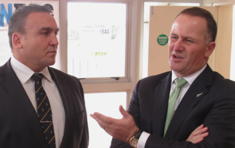 MP Mike Sabin, cozzies up to PM John Key