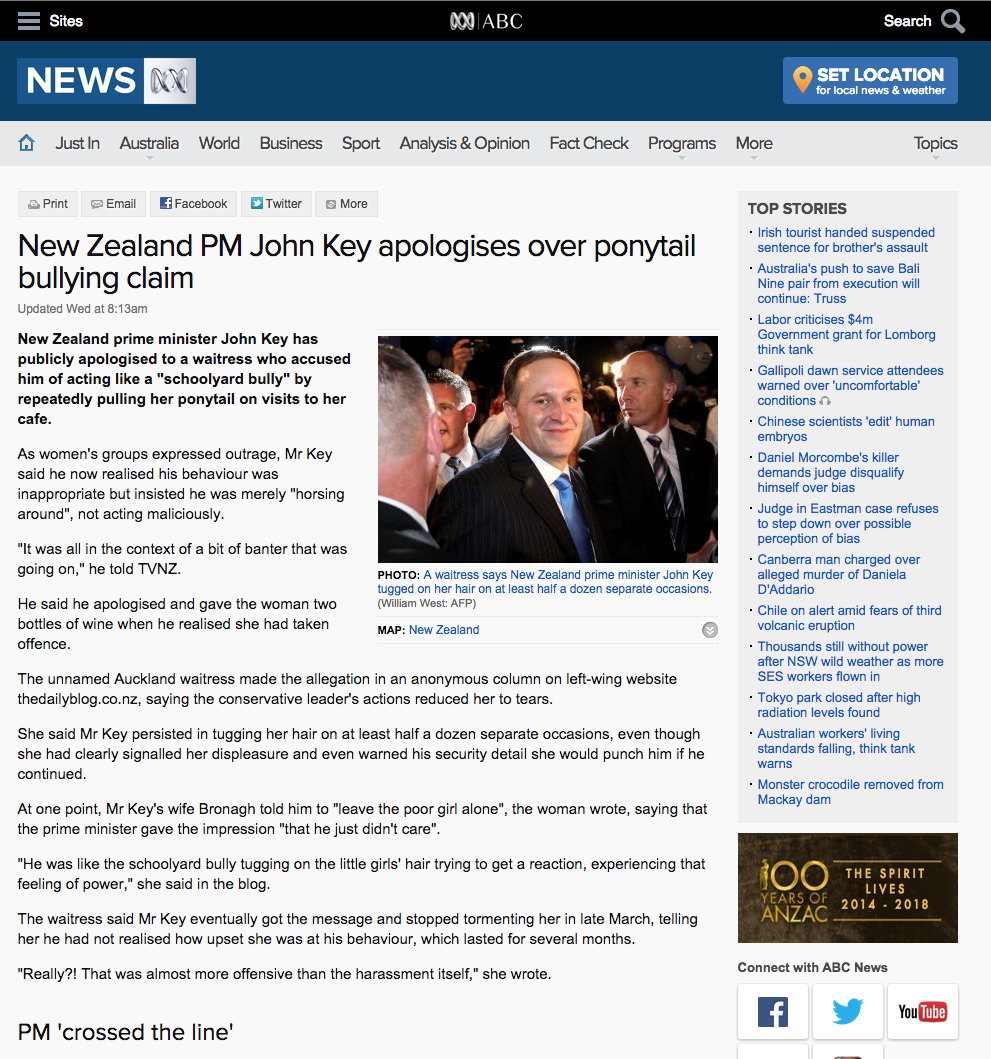 Source: http://www.abc.net.au/news/2015-04-22/john-key-apologises-over-ponytail-bullying-claim/6412248