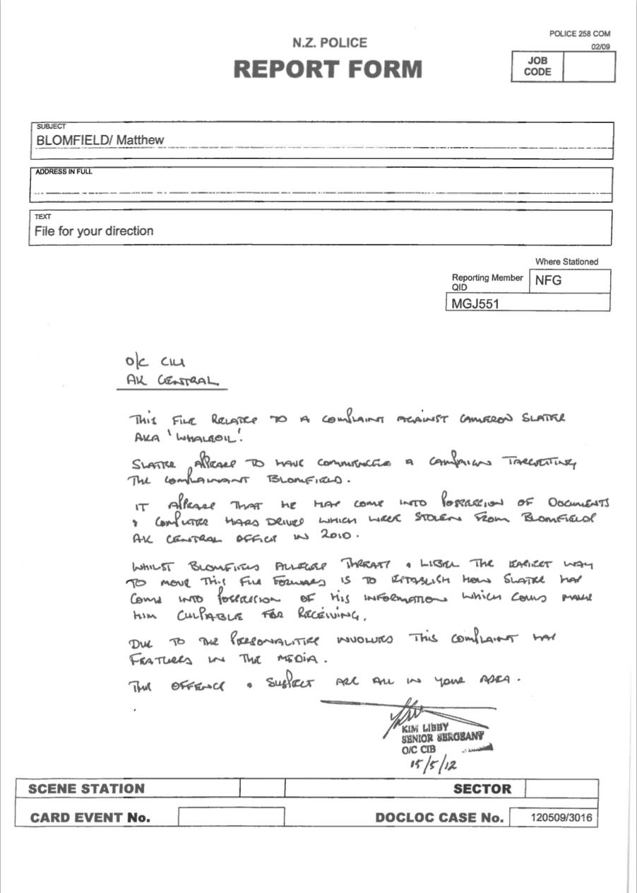 Senior Police directive Auckland OCB 2012